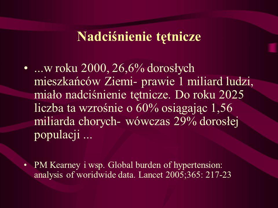 Nadciśnienie tętnicze...w roku 2000, 26,6% dorosłych mieszkańców Ziemi- prawie 1 miliard ludzi, miało nadciśnienie tętnicze. Do roku 2025 liczba ta wz