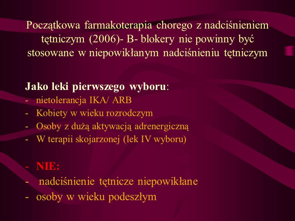 Początkowa farmakoterapia chorego z nadciśnieniem tętniczym (2006)- B- blokery nie powinny być stosowane w niepowikłanym nadciśnieniu tętniczym Jako l