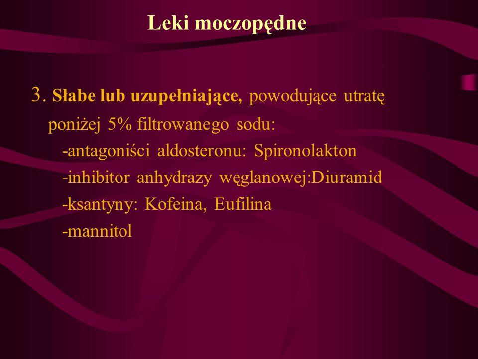 Leki moczopędne 3. Słabe lub uzupełniające, powodujące utratę poniżej 5% filtrowanego sodu: -antagoniści aldosteronu: Spironolakton -inhibitor anhydra
