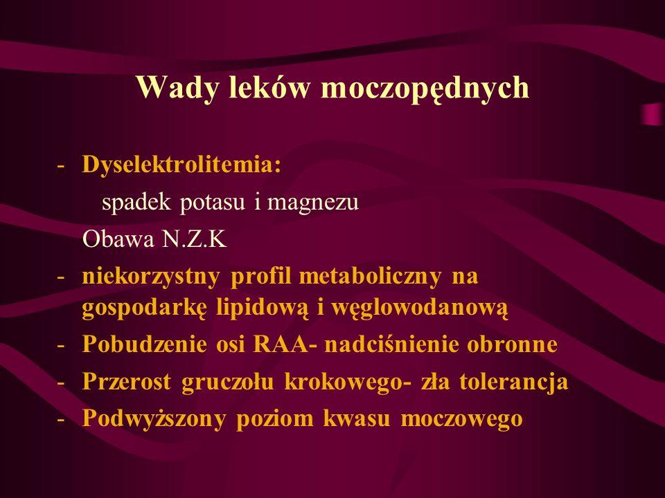Wady leków moczopędnych -Dyselektrolitemia: spadek potasu i magnezu Obawa N.Z.K -niekorzystny profil metaboliczny na gospodarkę lipidową i węglowodano