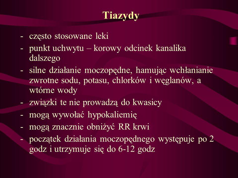 Tiazydy -często stosowane leki -punkt uchwytu – korowy odcinek kanalika dalszego -silne działanie moczopędne, hamując wchłanianie zwrotne sodu, potasu