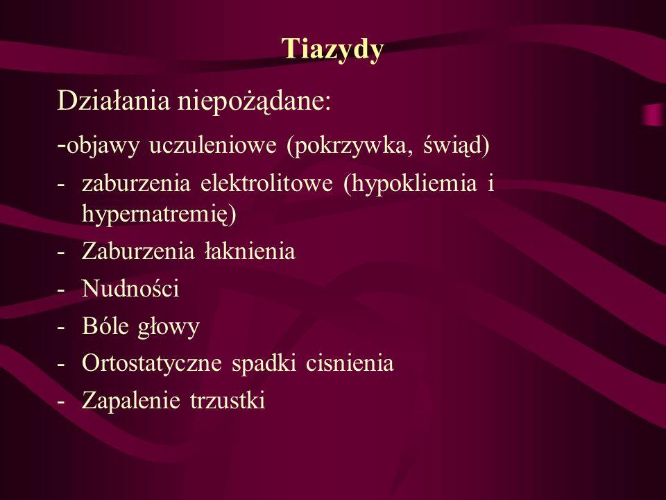 Tiazydy Działania niepożądane: - objawy uczuleniowe (pokrzywka, świąd) -zaburzenia elektrolitowe (hypokliemia i hypernatremię) -Zaburzenia łaknienia -