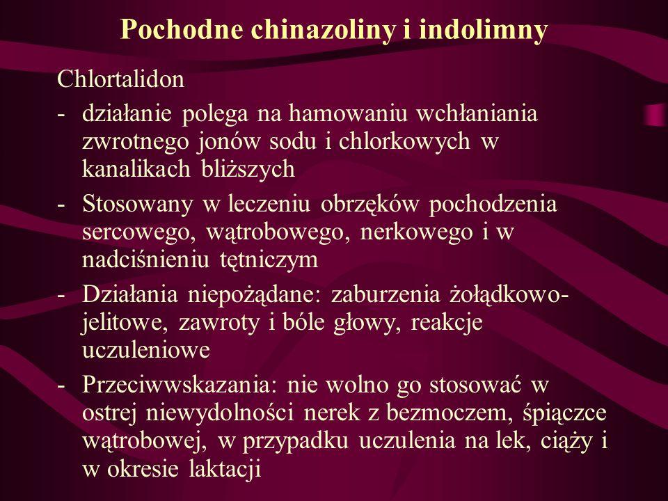 Pochodne chinazoliny i indolimny Chlortalidon -działanie polega na hamowaniu wchłaniania zwrotnego jonów sodu i chlorkowych w kanalikach bliższych -St