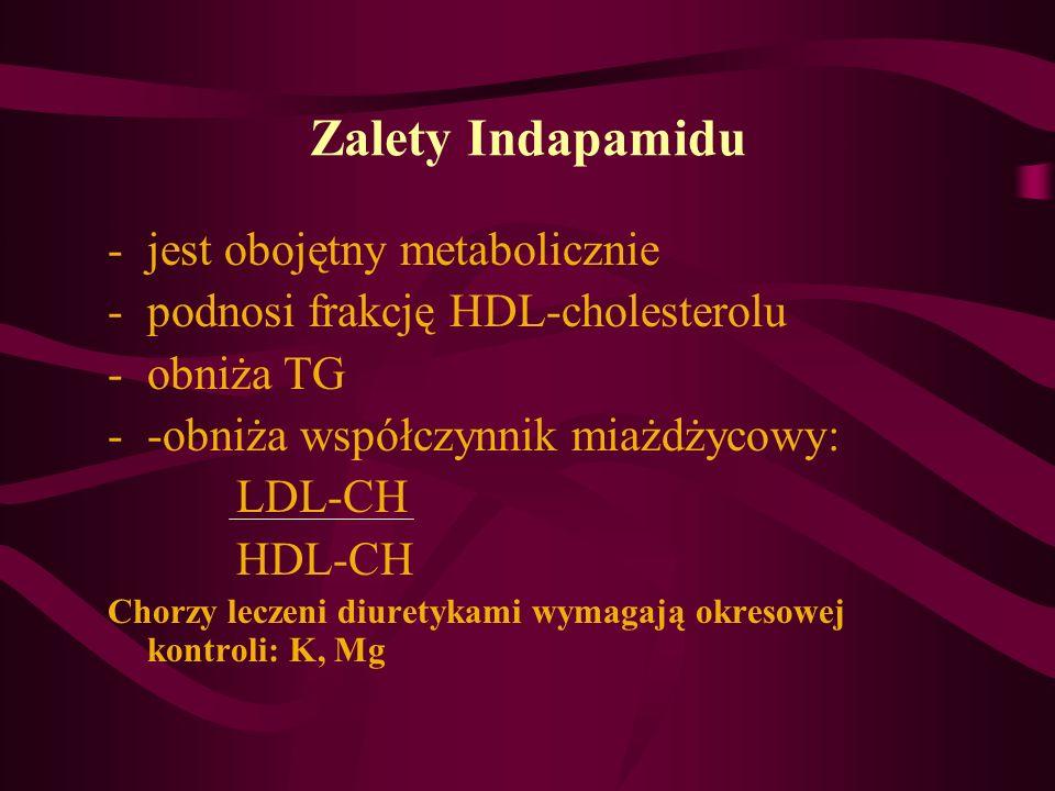 Zalety Indapamidu -jest obojętny metabolicznie -podnosi frakcję HDL-cholesterolu -obniża TG --obniża współczynnik miażdżycowy: LDL-CH HDL-CH Chorzy le