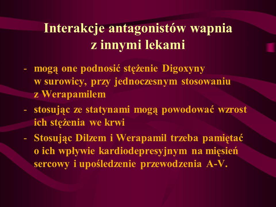 Interakcje antagonistów wapnia z innymi lekami -mogą one podnosić stężenie Digoxyny w surowicy, przy jednoczesnym stosowaniu z Werapamilem -stosując z