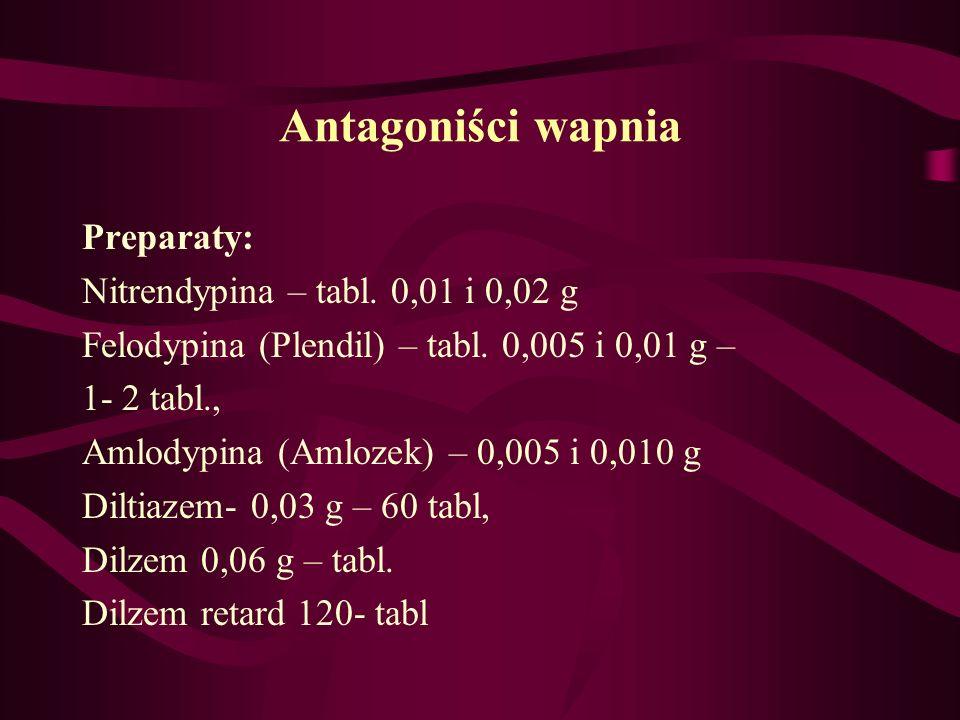 Antagoniści wapnia Preparaty: Nitrendypina – tabl. 0,01 i 0,02 g Felodypina (Plendil) – tabl. 0,005 i 0,01 g – 1- 2 tabl., Amlodypina (Amlozek) – 0,00