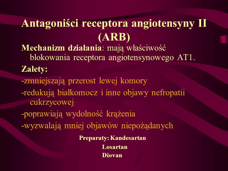 Antagoniści receptora angiotensyny II (ARB) Mechanizm działania: mają właściwość blokowania receptora angiotensynowego AT1. Zalety: -zmniejszają przer