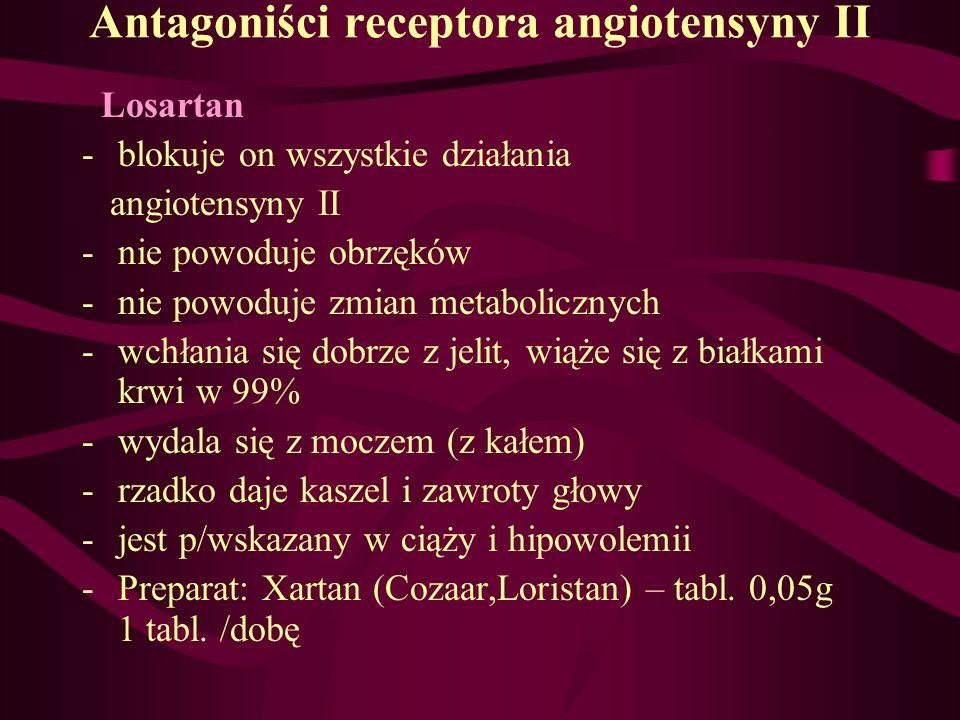Antagoniści receptora angiotensyny II Losartan -blokuje on wszystkie działania angiotensyny II -nie powoduje obrzęków -nie powoduje zmian metaboliczny
