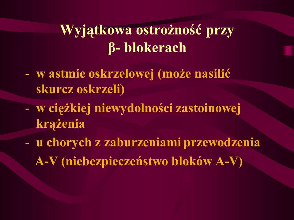 Wyjątkowa ostrożność przy β- blokerach -w astmie oskrzelowej (może nasilić skurcz oskrzeli) -w ciężkiej niewydolności zastoinowej krążenia -u chorych