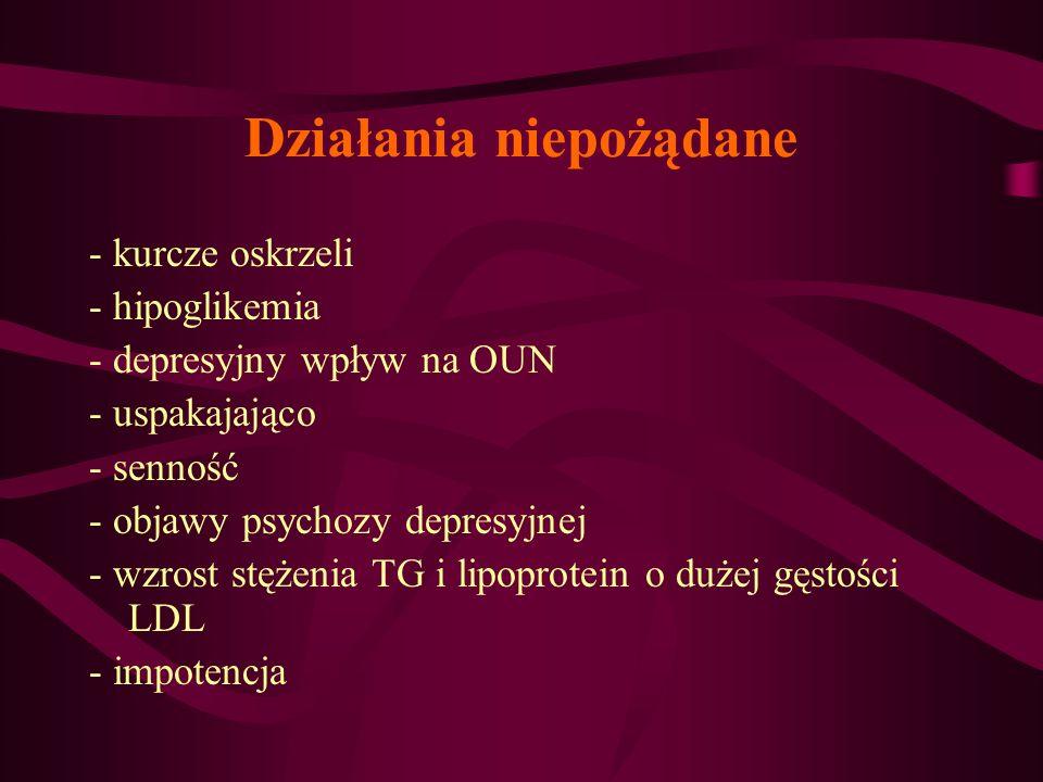 Działania niepożądane - kurcze oskrzeli - hipoglikemia - depresyjny wpływ na OUN - uspakajająco - senność - objawy psychozy depresyjnej - wzrost stęże