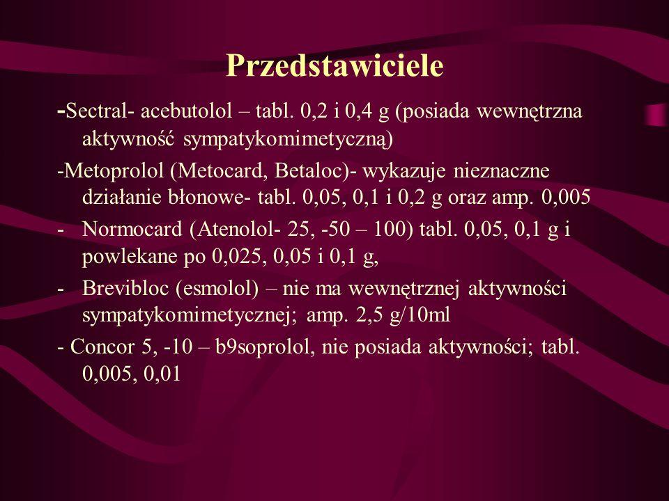 Przedstawiciele - Sectral- acebutolol – tabl. 0,2 i 0,4 g (posiada wewnętrzna aktywność sympatykomimetyczną) -Metoprolol (Metocard, Betaloc)- wykazuje