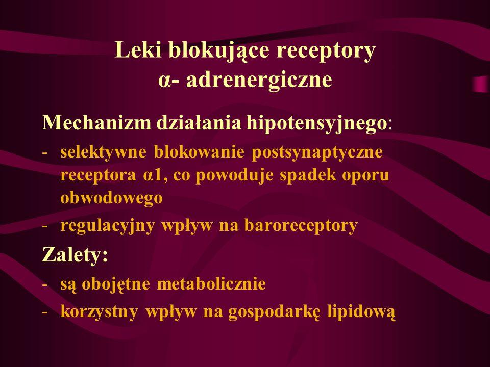 Leki blokujące receptory α- adrenergiczne Mechanizm działania hipotensyjnego: -selektywne blokowanie postsynaptyczne receptora α1, co powoduje spadek