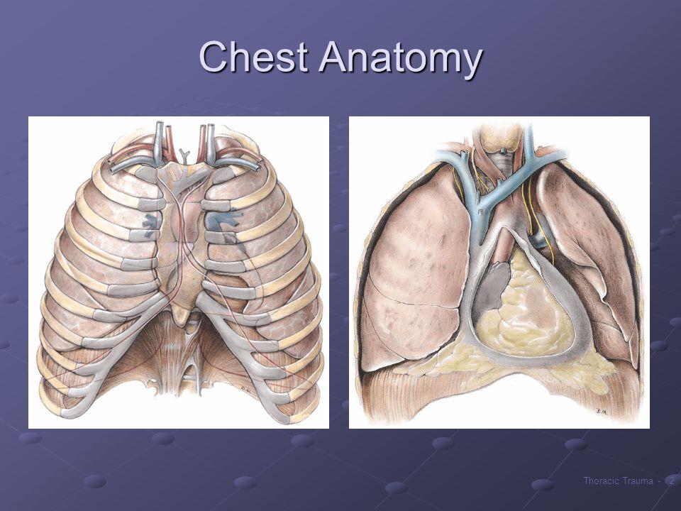 Uszkodzenia klatki piersiowej stanowiące potencjalne zagrożenie dla życia: stłuczenie płuca, stłuczenie mięśnia sercowego, urazowe rozerwanie aorty, rozerwanie przepony, uszkodzenie dużych dróg oddechowych, urazy przełyku.