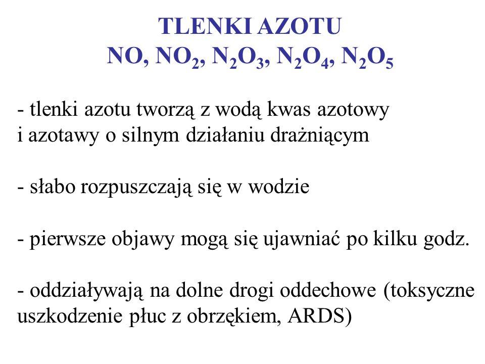 TLENKI AZOTU NO, NO 2, N 2 O 3, N 2 O 4, N 2 O 5 - tlenki azotu tworzą z wodą kwas azotowy i azotawy o silnym działaniu drażniącym - słabo rozpuszczaj