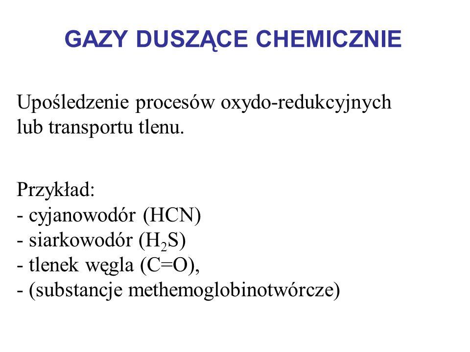 GAZY DUSZĄCE CHEMICZNIE Upośledzenie procesów oxydo-redukcyjnych lub transportu tlenu. Przykład: - cyjanowodór (HCN) - siarkowodór (H 2 S) - tlenek wę