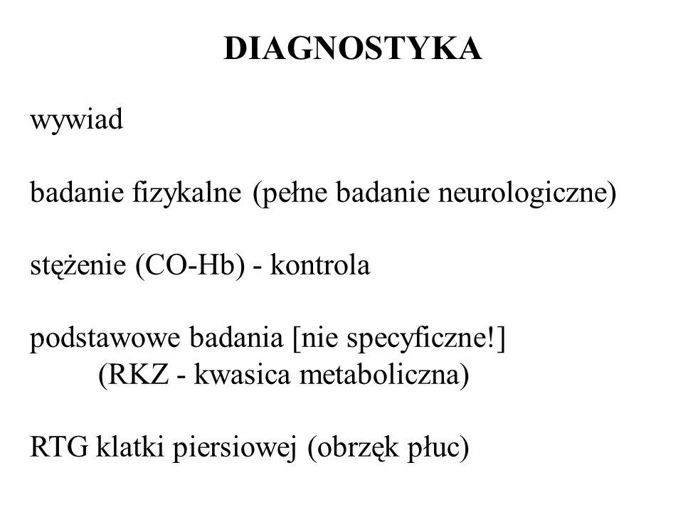 DIAGNOSTYKA wywiad badanie fizykalne (pełne badanie neurologiczne) stężenie (CO-Hb) - kontrola podstawowe badania [nie specyficzne!] (RKZ - kwasica me