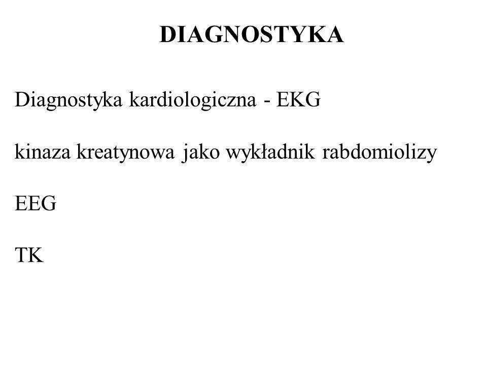 DIAGNOSTYKA Diagnostyka kardiologiczna - EKG kinaza kreatynowa jako wykładnik rabdomiolizy EEG TK