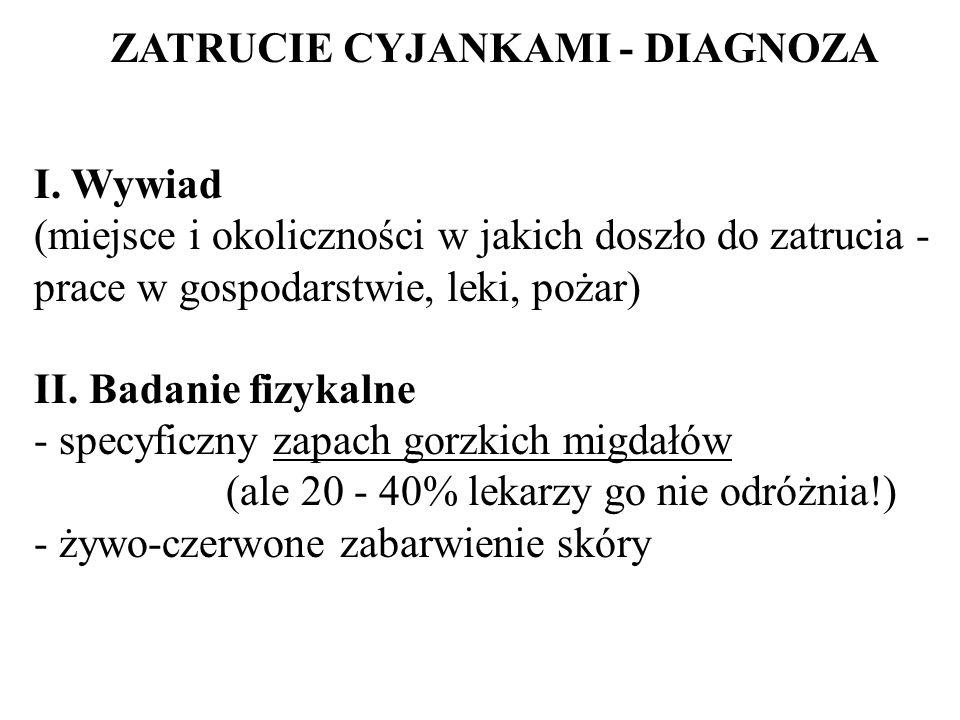 ZATRUCIE CYJANKAMI - DIAGNOZA I. Wywiad (miejsce i okoliczności w jakich doszło do zatrucia - prace w gospodarstwie, leki, pożar) II. Badanie fizykaln