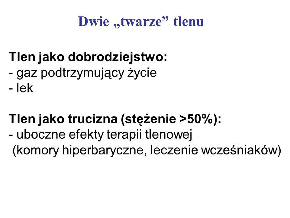 Dwie twarze tlenu Tlen jako dobrodziejstwo: - gaz podtrzymujący życie - lek Tlen jako trucizna (stężenie >50%): - uboczne efekty terapii tlenowej (kom