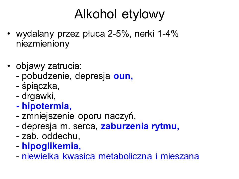Alkohol etylowy wydalany przez płuca 2-5%, nerki 1-4% niezmieniony objawy zatrucia: - pobudzenie, depresja oun, - śpiączka, - drgawki, - hipotermia, -