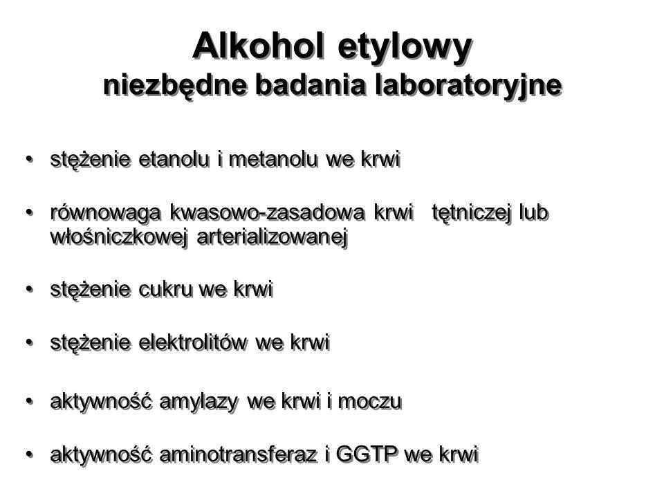 Alkohol etylowy niezbędne badania laboratoryjne stężenie etanolu i metanolu we krwi równowaga kwasowo-zasadowa krwi tętniczej lub włośniczkowej arteri