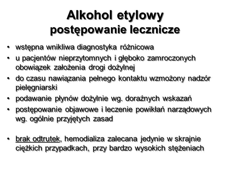 Alkohol etylowy postępowanie lecznicze wstępna wnikliwa diagnostyka różnicowa u pacjentów nieprzytomnych i głęboko zamroczonych obowiązek założenia dr