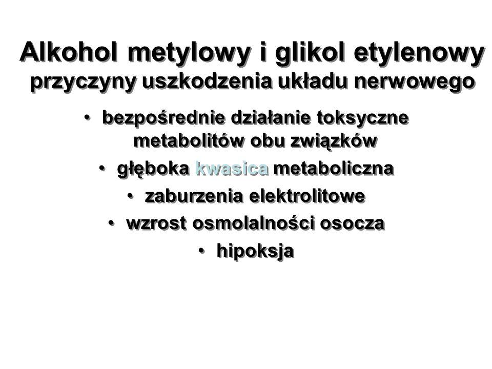 Alkohol metylowy i glikol etylenowy przyczyny uszkodzenia układu nerwowego bezpośrednie działanie toksyczne metabolitów obu związków głęboka kwasica m