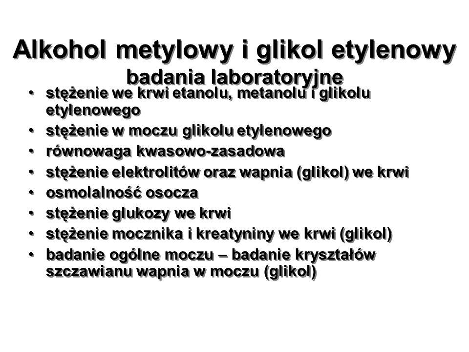 Alkohol metylowy i glikol etylenowy badania laboratoryjne stężenie we krwi etanolu, metanolu i glikolu etylenowego stężenie w moczu glikolu etylenoweg