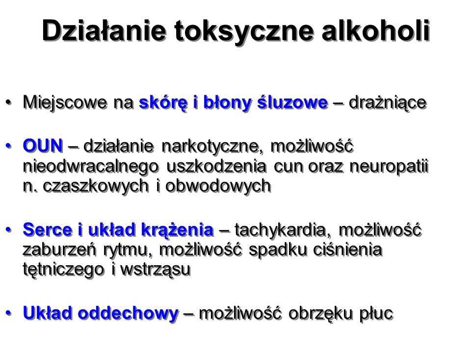 Alkohol metylowy i glikol etylenowy postępowanie lecznicze dawkowanie alkoholu etylowego: alkohol podajemy doustnie (przez sondę) lub (najczęściej) dożylnie w stałym wlewie 10% roztworu, aby utrzymać stężenie we krwi w granicach 100-150 mg/dL – zalecana dawka początkowo 0,6-1,0 g/kg m.c., następnie średnio 110 mg/kg m.c./godz.