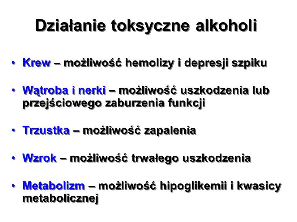 Działanie toksyczne alkoholi Krew – możliwość hemolizy i depresji szpiku Wątroba i nerki – możliwość uszkodzenia lub przejściowego zaburzenia funkcji