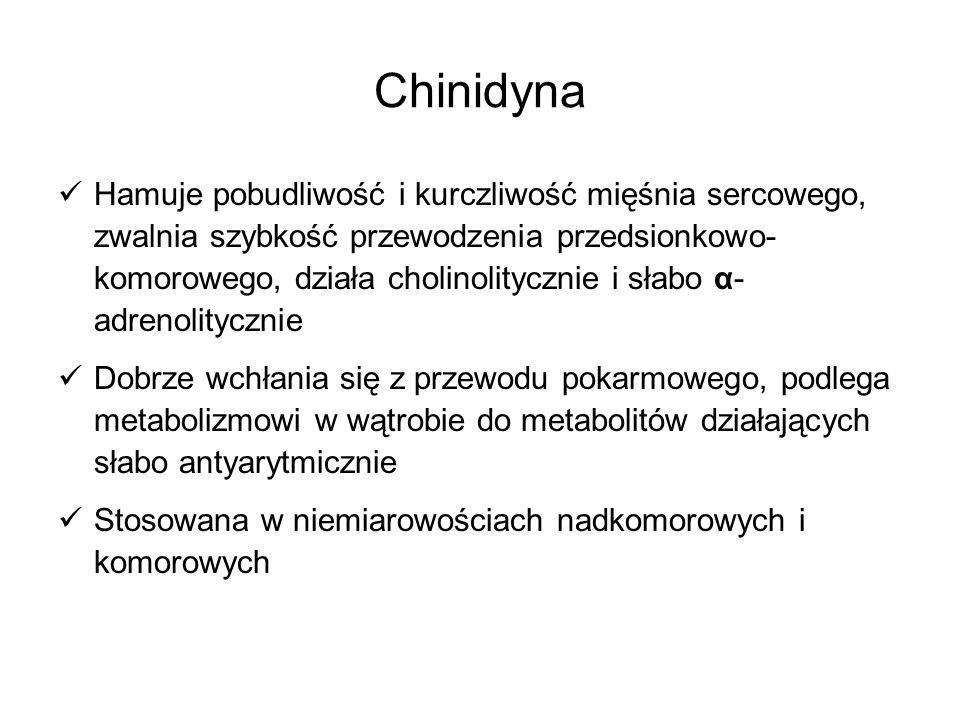 Prokainamid Działanie podobne do chinidyny W mniejszym stopniu niż chinidyna działa ujemnie ino- i chronotropowo Dobrze wchłania się z przewodu pokarmowego, w ok.