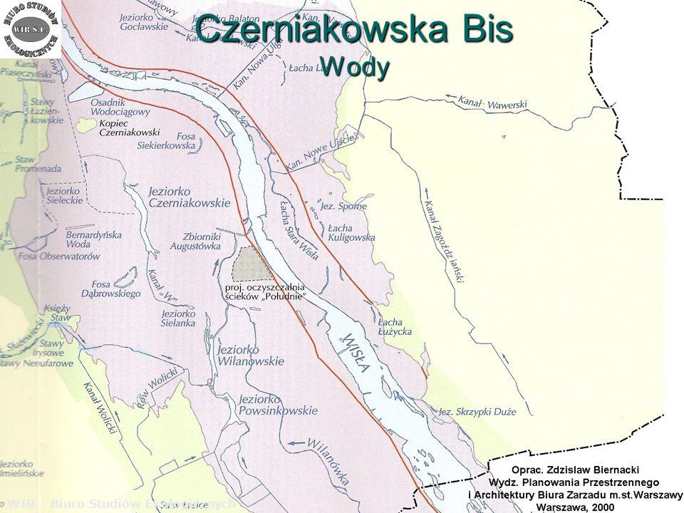 Czerniakowska Bis Wody WIR – Biuro Studiów Ekologicznych Najwięcej obaw związanych z ochroną wód powierzchniowych budzi koncepcja odprowadzania oczyszczonych wód opadowych z ulicy Czerniakowska –Bis do jeziorka Czerniakowskiego.