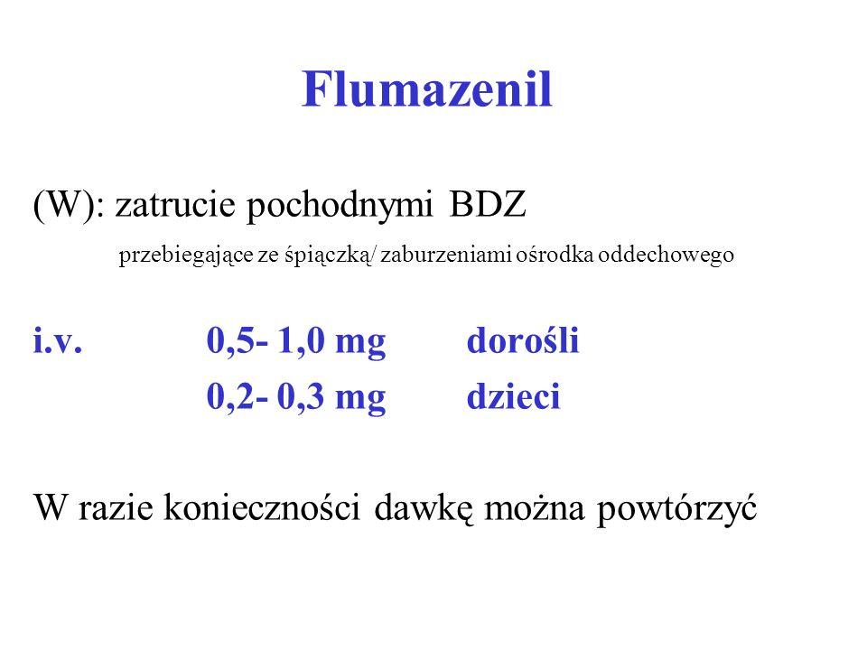 Flumazenil (W): zatrucie pochodnymi BDZ przebiegające ze śpiączką/ zaburzeniami ośrodka oddechowego i.v. 0,5- 1,0 mgdorośli 0,2- 0,3 mgdzieci W razie