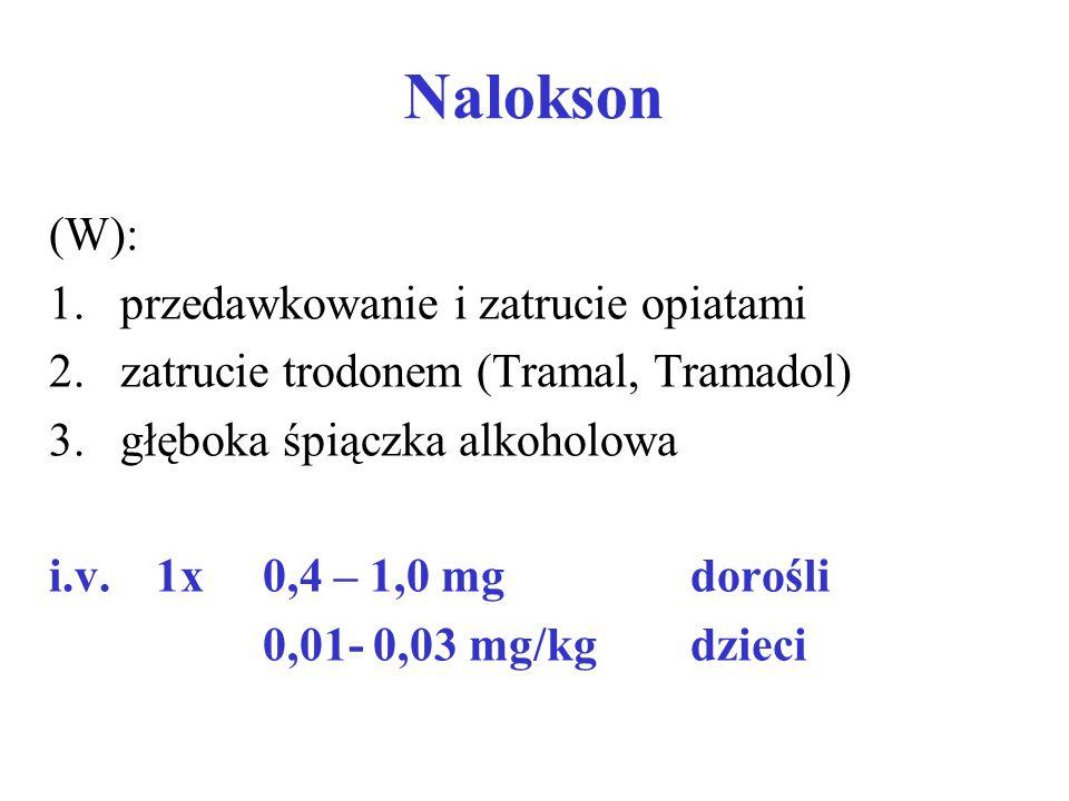 Nalokson (W): 1.przedawkowanie i zatrucie opiatami 2.zatrucie trodonem (Tramal, Tramadol) 3.głęboka śpiączka alkoholowa i.v. 1x0,4 – 1,0 mgdorośli 0,0