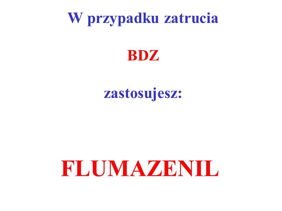 W przypadku zatrucia BDZ zastosujesz: FLUMAZENIL
