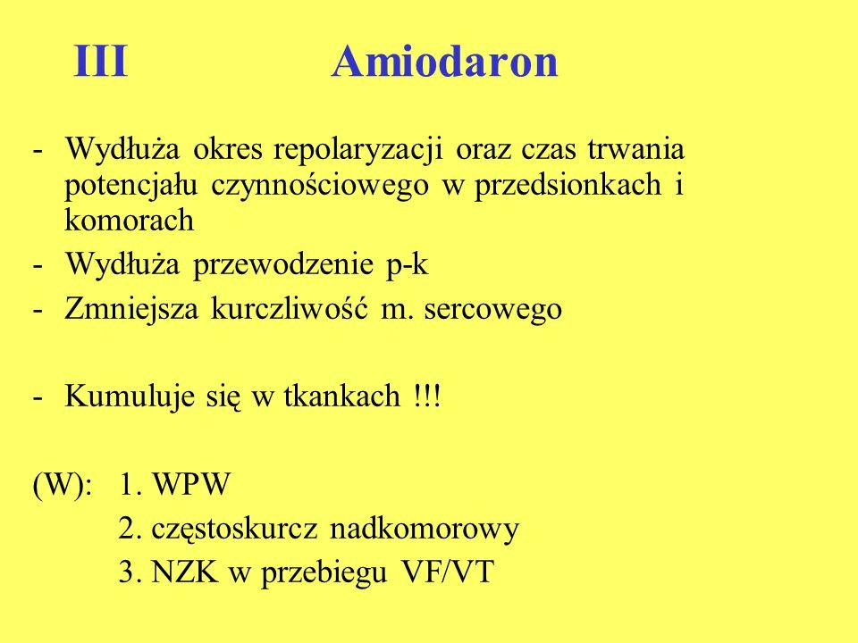 IIIAmiodaron -Wydłuża okres repolaryzacji oraz czas trwania potencjału czynnościowego w przedsionkach i komorach -Wydłuża przewodzenie p-k -Zmniejsza