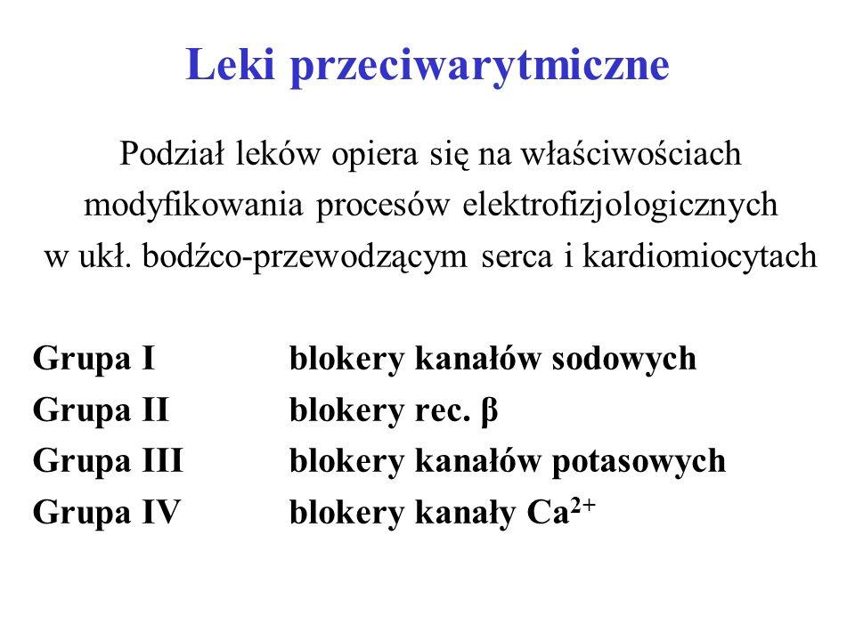 Leki przeciwarytmiczne Grupa Iblokery kanałów sodowych: IA- chinidyna - prokainamid - dizopyramid IB- lidokaina - meksyletyna - fenytoina IC- propafenon - enkainid - prokainid - ajmalina, prajmalina