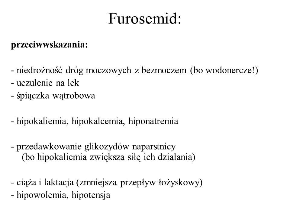 Furosemid: przeciwwskazania: - niedrożność dróg moczowych z bezmoczem (bo wodonercze!) - uczulenie na lek - śpiączka wątrobowa - hipokaliemia, hipokal