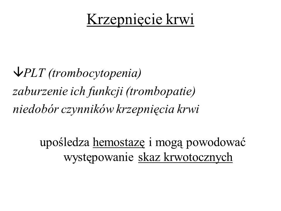 Krzepnięcie krwi PLT (trombocytopenia) zaburzenie ich funkcji (trombopatie) niedobór czynników krzepnięcia krwi upośledza hemostazę i mogą powodować w