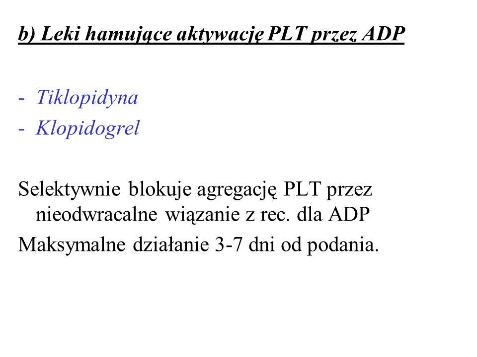 b) Leki hamujące aktywację PLT przez ADP -Tiklopidyna -Klopidogrel Selektywnie blokuje agregację PLT przez nieodwracalne wiązanie z rec. dla ADP Maksy