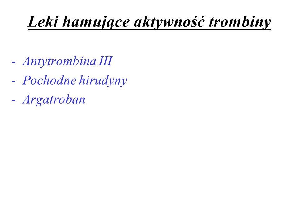 Leki hamujące aktywność trombiny -Antytrombina III -Pochodne hirudyny -Argatroban