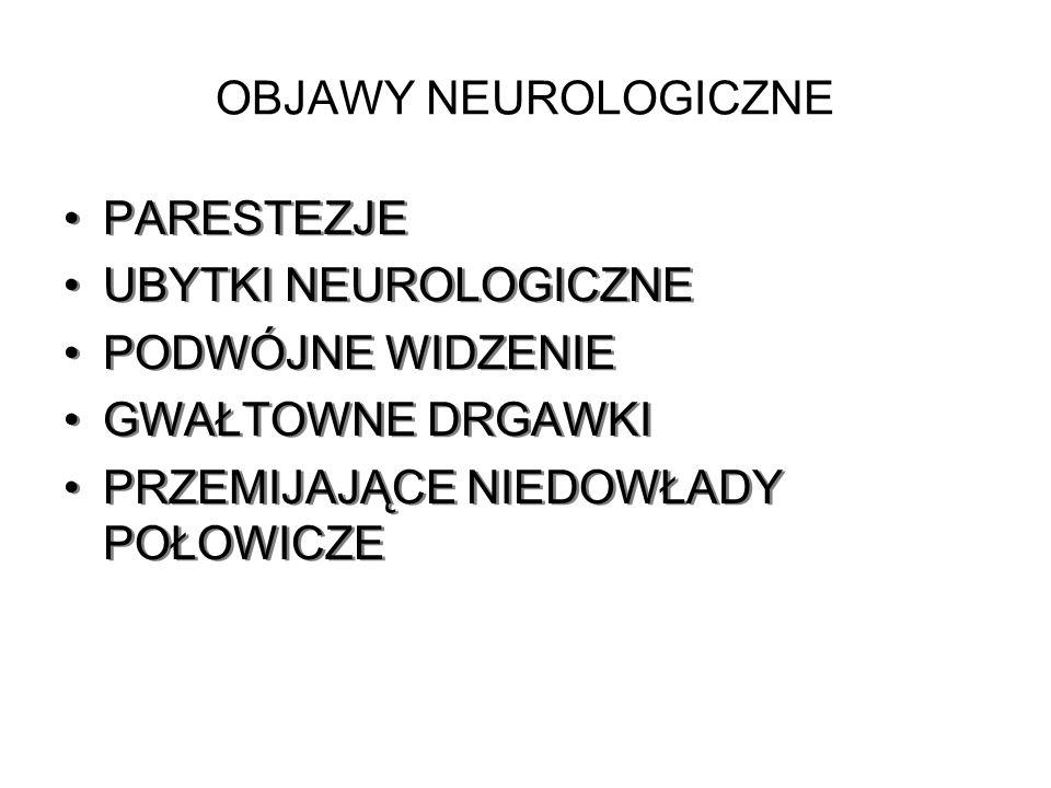 OBJAWY NEUROLOGICZNE PARESTEZJE UBYTKI NEUROLOGICZNE PODWÓJNE WIDZENIE GWAŁTOWNE DRGAWKI PRZEMIJAJĄCE NIEDOWŁADY POŁOWICZE PARESTEZJE UBYTKI NEUROLOGI