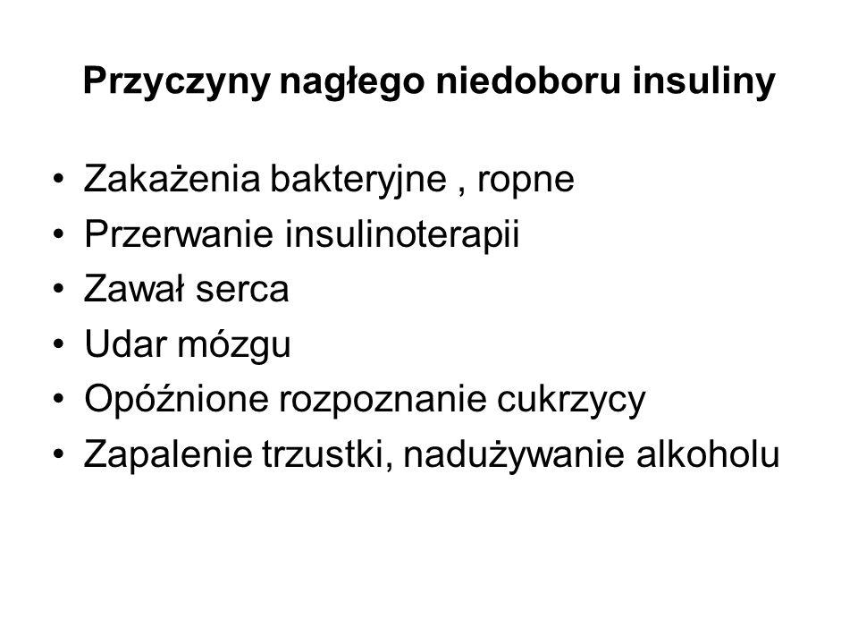 Przyczyny nagłego niedoboru insuliny Zakażenia bakteryjne, ropne Przerwanie insulinoterapii Zawał serca Udar mózgu Opóźnione rozpoznanie cukrzycy Zapa