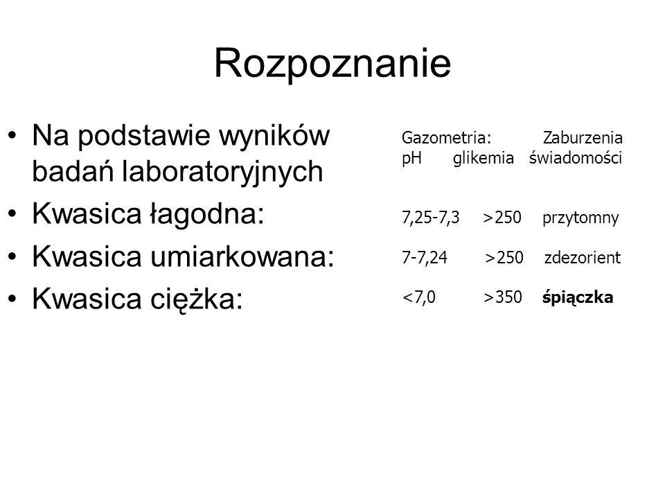 Rozpoznanie Na podstawie wyników badań laboratoryjnych Kwasica łagodna: Kwasica umiarkowana: Kwasica ciężka: Gazometria: Zaburzenia pH glikemia świado