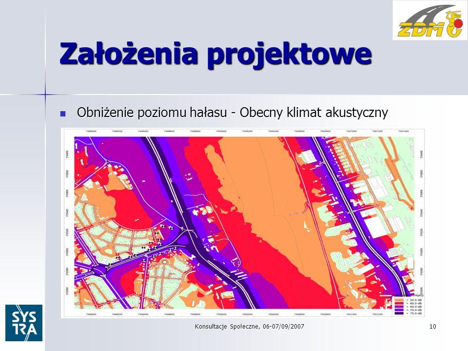 Konsultacje Społeczne, 06-07/09/200710 Założenia projektowe Obniżenie poziomu hałasu - Obecny klimat akustyczny Obniżenie poziomu hałasu - Obecny klimat akustyczny