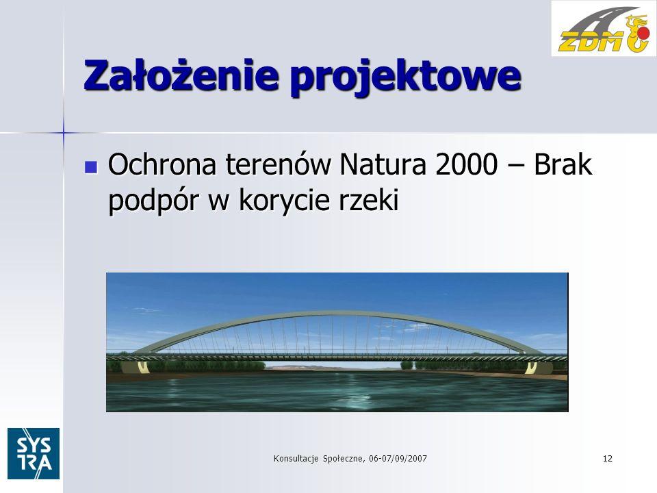 Konsultacje Społeczne, 06-07/09/200712 Założenie projektowe Ochrona terenów Natura 2000 – Brak podpór w korycie rzeki Ochrona terenów Natura 2000 – Brak podpór w korycie rzeki