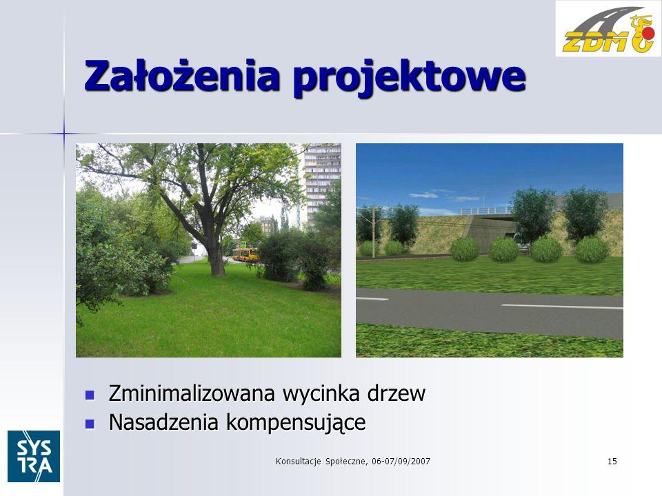 Konsultacje Społeczne, 06-07/09/200715 Założenia projektowe Zminimalizowana wycinka drzew Zminimalizowana wycinka drzew Nasadzenia kompensujące Nasadzenia kompensujące