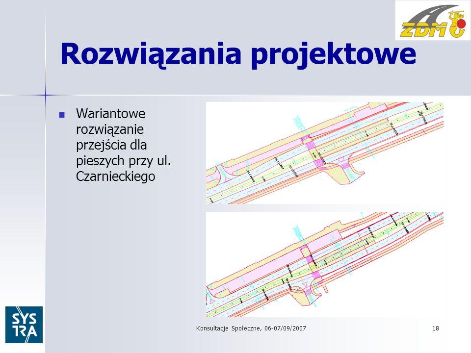 Rozwiązania projektowe Wariantowe rozwiązanie przejścia dla pieszych przy ul.