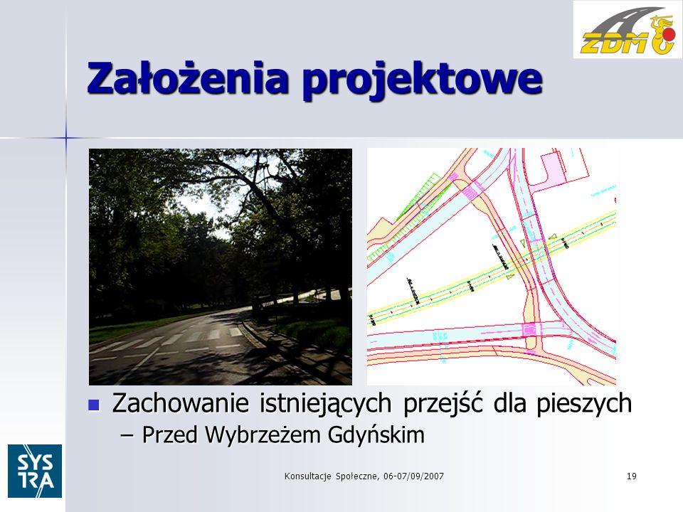 19 Założenia projektowe Zachowanie istniejących przejść dla pieszych Zachowanie istniejących przejść dla pieszych –Przed Wybrzeżem Gdyńskim