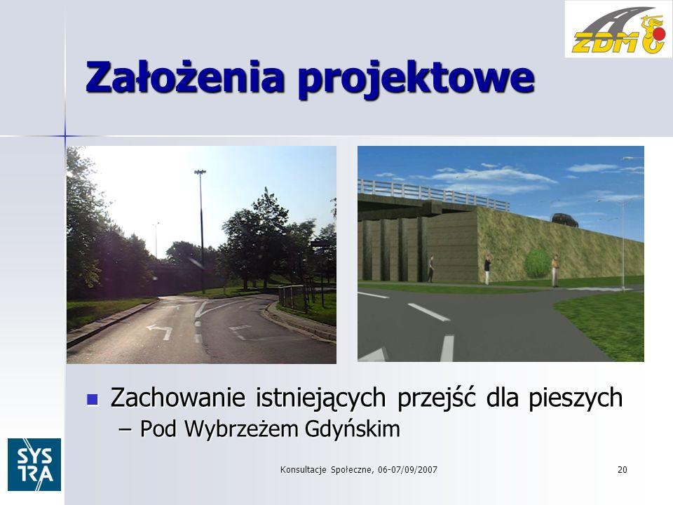 Konsultacje Społeczne, 06-07/09/200720 Założenia projektowe Zachowanie istniejących przejść dla pieszych Zachowanie istniejących przejść dla pieszych –Pod Wybrzeżem Gdyńskim